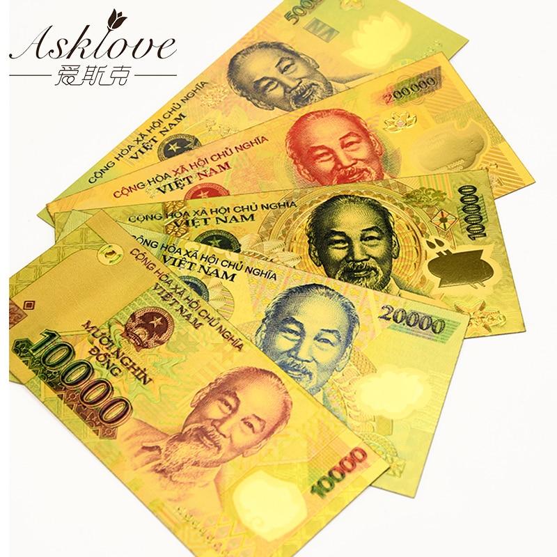 10pcs Vietnam 500000 VND Gold Banknotes 24K Gold Foil Fake Paper Money for Collection Souvenir VND Banknote Sample Fake money