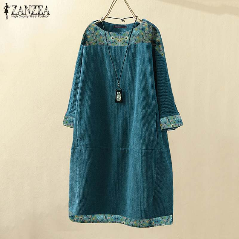 Vintage Autumn Corduroy Dress ZANZEA Women Floral Printed Long Sleeve Sundress Casual Loose Long Tops Blusas Knee-length Vestido