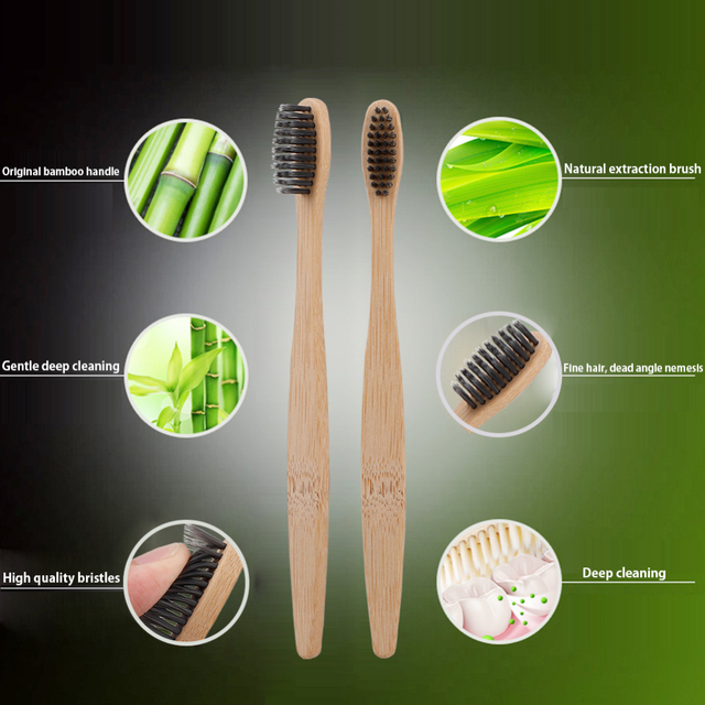 10pcs Natural Bamboo Charcoal Toothbrushes Soft Bristles Eco Friendly Oral Care Travel Tooth Brush Bamboo Charcoal Toothbrushes 5
