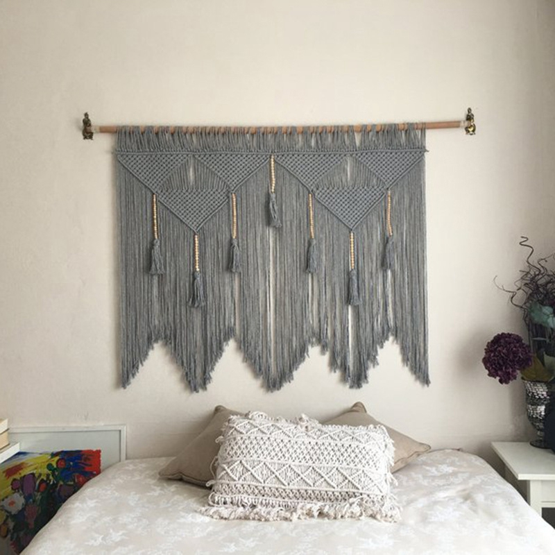 Macrame Wall Hanging Handwoven Bohemian Cotton Rope Boho Tapestry Home Decor Gray