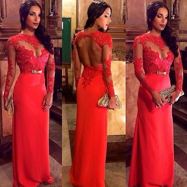 Free Shipping Sexy Stunning Red Lace appliques Floor Length Chiffon Long Sleeve Evening Dress 2015 sexy backless bow party gown