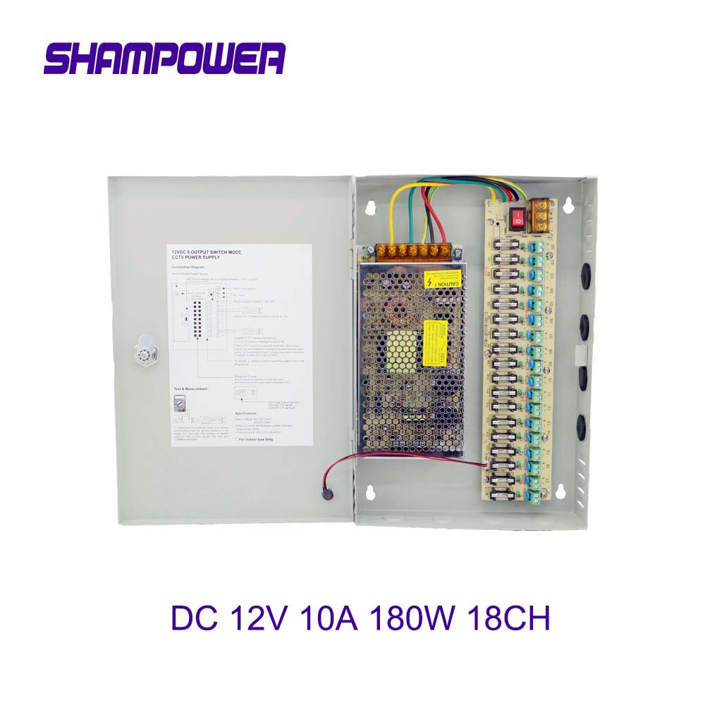 CCTV Power Supply Switch 12V 10A 18CH Channel Power Supply Box for CCTV Camera Security Surveillance - CCTV Security Accessories