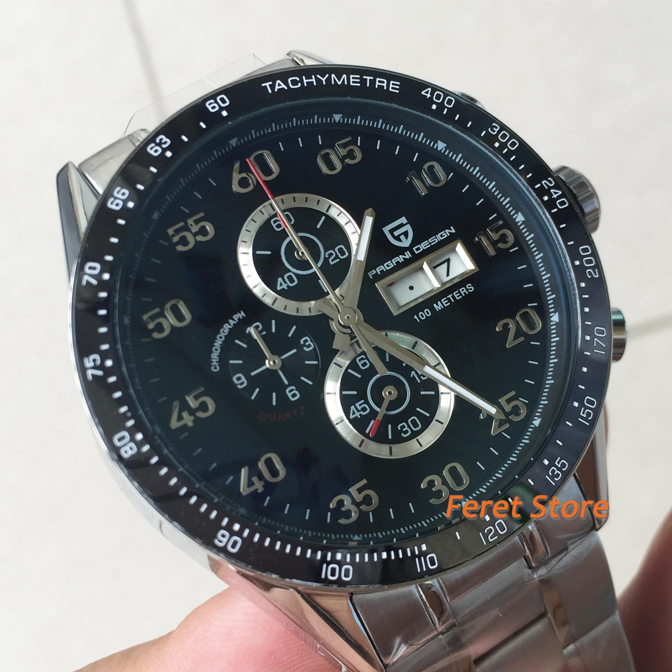 44mm PAGANI design full chronograph white dial black Bezel OS movement date sport quartz movement mans WATCH
