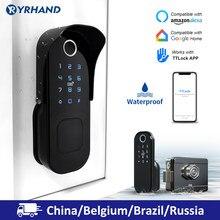 Keine Verdrahtung Wasserdicht Wifi Fingerprint Rim Lock Smart Karte Digitale Code Elektronische Türschloss Für Home Security Einsteckschloss