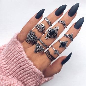 15 Pcs/set Women Fashion Rings Hearts Fatima Hands Virgin Mary Cross Leaf Hollow Geometric Crystal Ring Set Wedding Jewelry 9