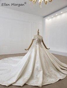 Image 2 - Luxus Kristalle Spitze Ballkleider Hochzeit Kleider für Frauen Saudi Arabischen Elegante Prinzessin Langen Ärmeln Perlen Brautkleider 2020