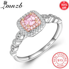 Lmnzb Элегантные кольца с розовым фианитом для женщин 100% Стерлинговое