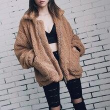 2021 Autumn Winter Women Faux Fur Coat Casual Warm Soft Zipper Fur Jacket Plush Overcoat Pocket Plus Size Teddy Coat Female XXXL