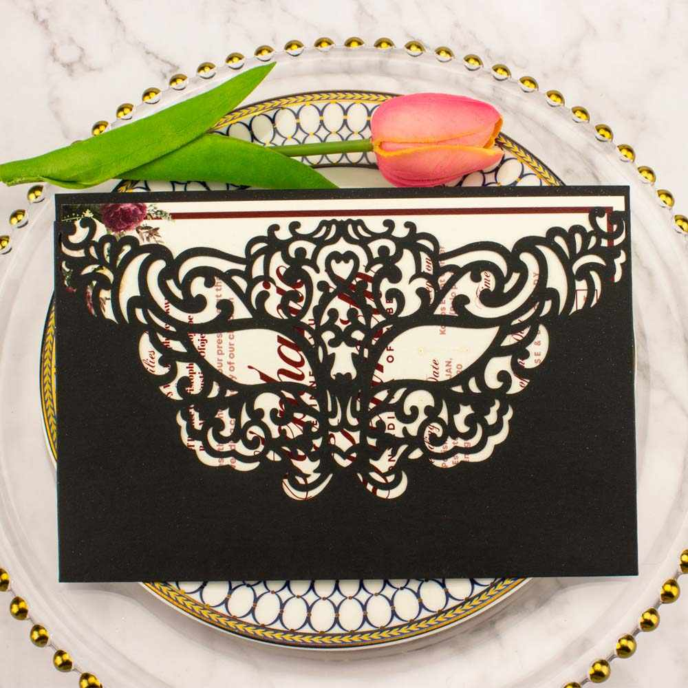 1 個送料無料レーザーカットパールホワイト紙中空マスク結婚式の招待状カードブライダルシャワー誕生日パーティーカバー