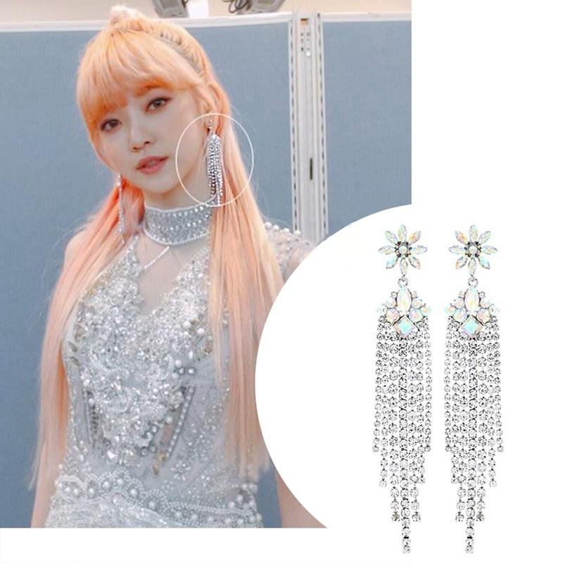 EARS HIGH Korean New Luxury Flower Crystal Drop Earrings For Women Elegant Rhinestone Tassel Long Pendientes Party Jewelry