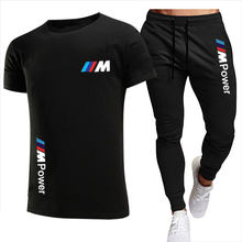 2021 BMW fashion casual sportswear summer letter printing suit men's jogging suit fitness clothes men's T-shirt + pants 2-piece