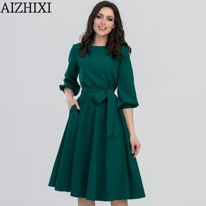 Image 1 - AIZHIXI Vintage katı cep Sashes evaze elbise İlkbahar yaz kadın rahat o boyun fener kollu elbise zarif parti elbiseler