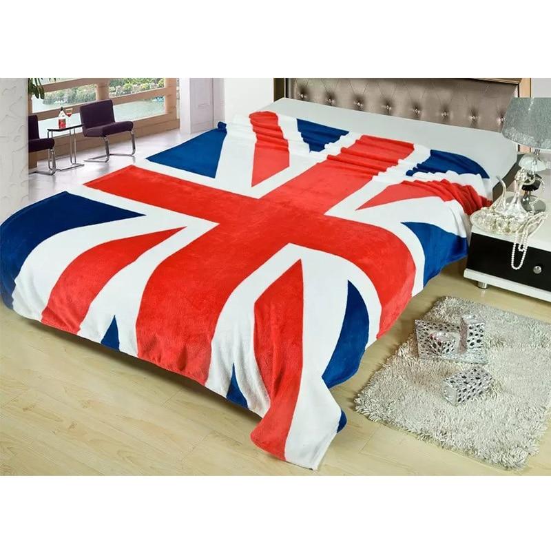 Super Soft Warm British Flag UK Flannel Blankets US Flag American Children Blanket For Boys Girls Kids Gift 150x200cm Bed Cover