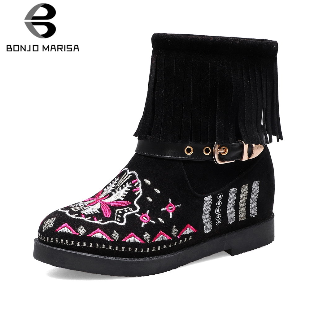 BONJOMARISA New Dropship 34 43 Hot Sale Ethnic Booties Women Embroider Ankle Boots Women 2019 Autumn Casual Fringe Shoes Woman in Ankle Boots from Shoes