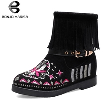 BONJOMARISA New Dropship 34-43 Hot Sale Ethnic Booties Women Embroider Ankle Boots 2019 Autumn Casual Fringe Shoes Woman
