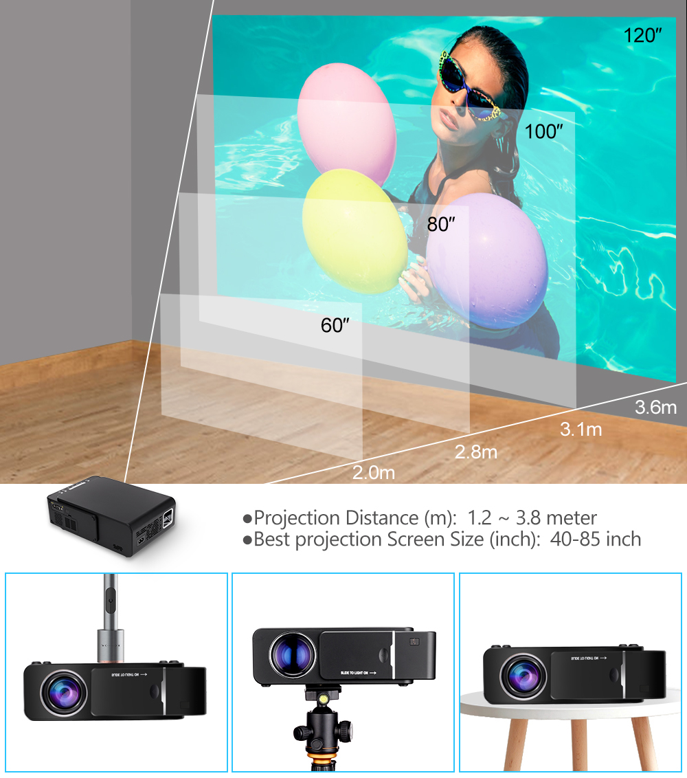 Image 3 - VIVICINE 1280x720p Portable HD Projector,Option Android 7.1 HDMI USB 1080p Home Theater Proyector WIFI Mini Led Beamer-in Overhead Projector from Consumer Electronics