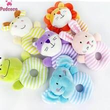 2018 nuevo Adorable recién nacido bebé sonajero cochecito juguete de peluche conejo León cascabel de Animal manual muñeca suave juguetes de peluche de regalo