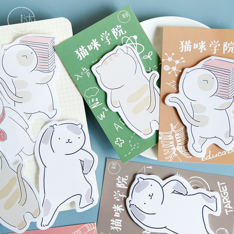 30 Pages/Pack Cute Student Cat Memo Pad Paper Notepad Sticky Note School Office Supply Student Stationery Kid Gift