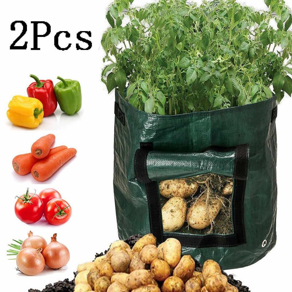 2 個植栽を成長 DIY 不織布ポテト園芸ポット園芸野菜ポテトプランターバッグ jardineria を成長