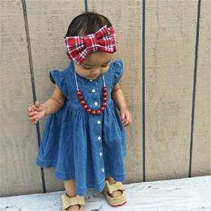 Infant Toddler Baby Kids Girl Solid Color Sleeveless Princess Summer Sundress Party Jeans Dress Clothes 1-8Y(China)