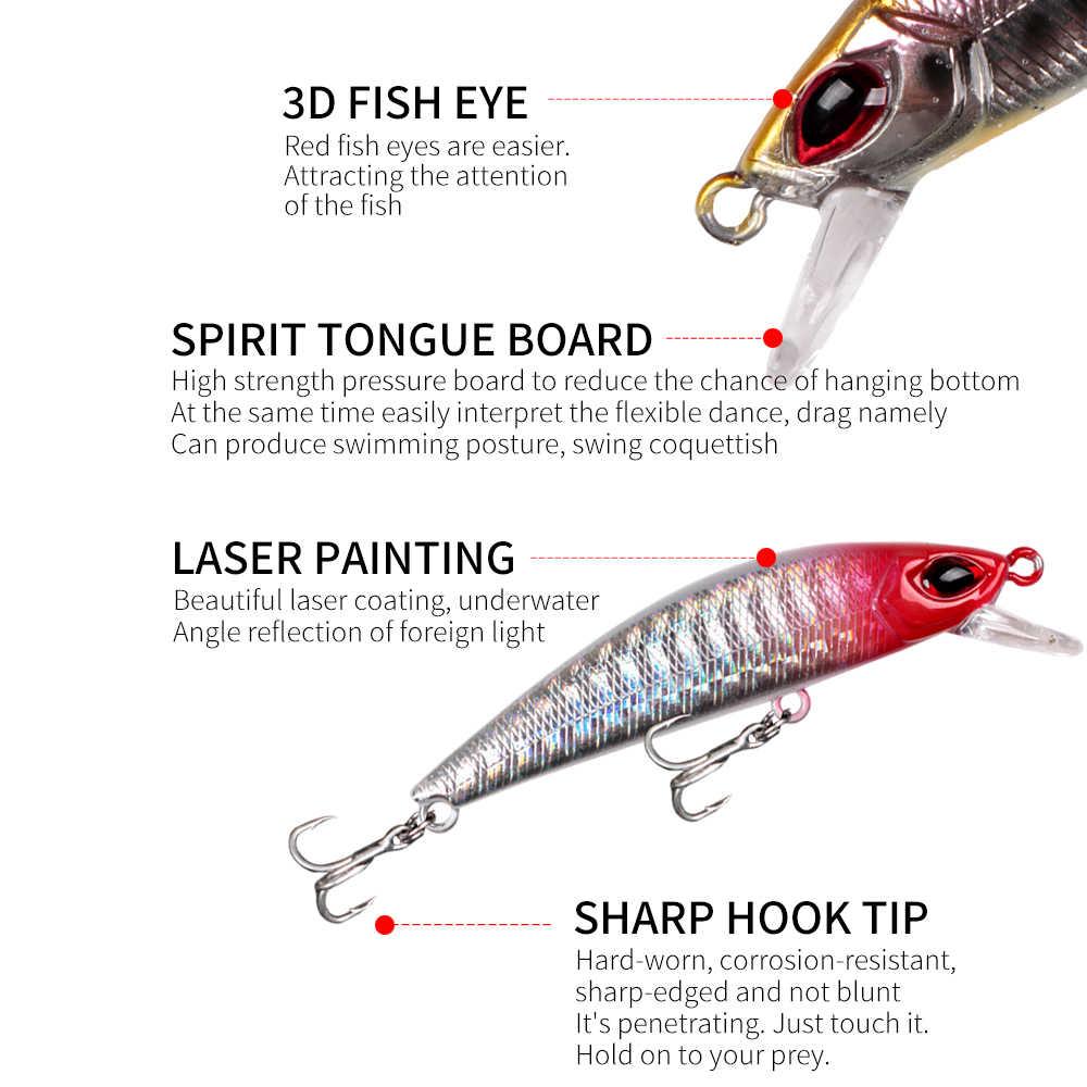 LUSHAZER coulant vairon appât de pêche 65mm 8g leurres durs de pêche Wobbler leurre dur bar brochet pêche isca appâts artificiels
