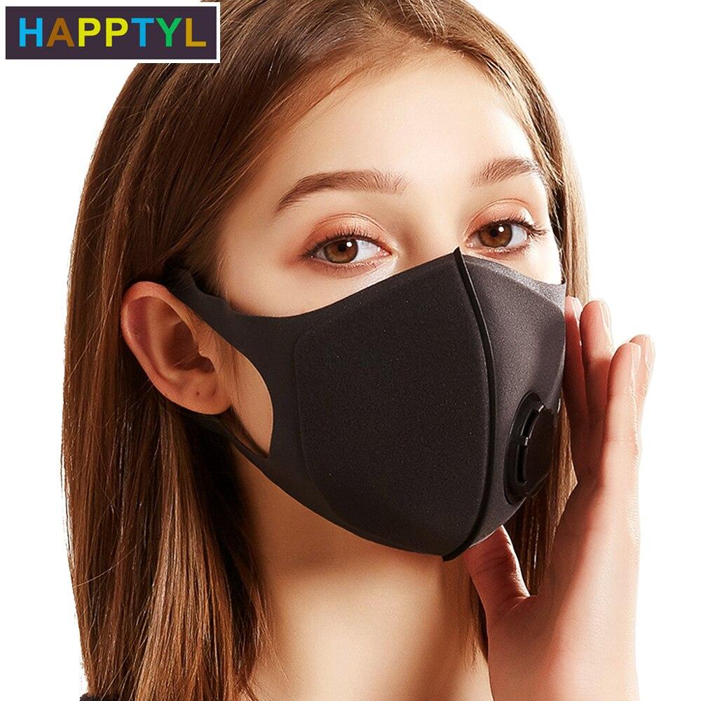HAPPTYL Respiratory Dust Mask Upgraded Version Men & Women Anti-fog Haze Dust Pm2.5 Pollen 3D Cropped Breathable Valve Mask