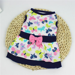 Cute Butterfly Floral Printed Dog Dress Big Swing Skirt Soft Sleeveless Pullover Winter Warm Pet Dog Clothes Puppy Dog Costume