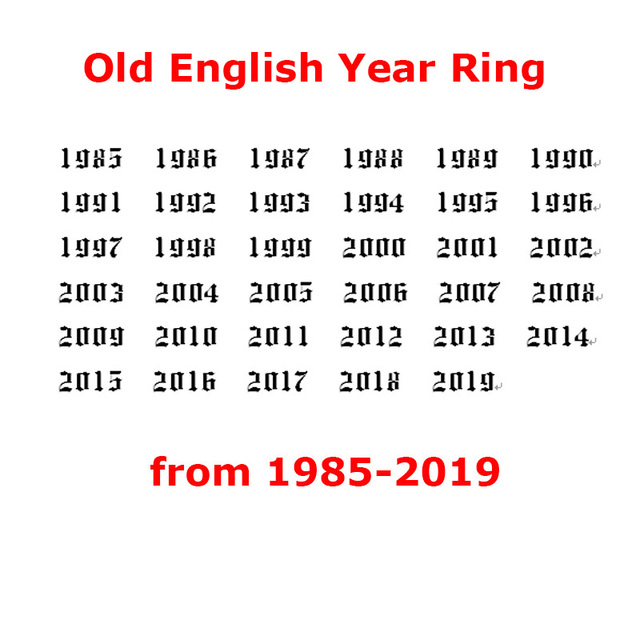 Old English Birth Year Ring For Women Number Ring Year 1993 1997 2019 Number Stainless Steel Ring Gold Silver Color Jewelry Gift