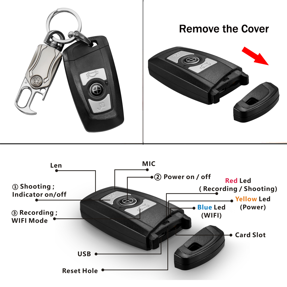 Image 4 - Mini Car key Camera 4K UHD Keyfob WIFI Camera Sensor Camcorder Motion DVR Micro Camera Sport DV Monitor Security Video ip Camera-in Surveillance Cameras from Security & Protection