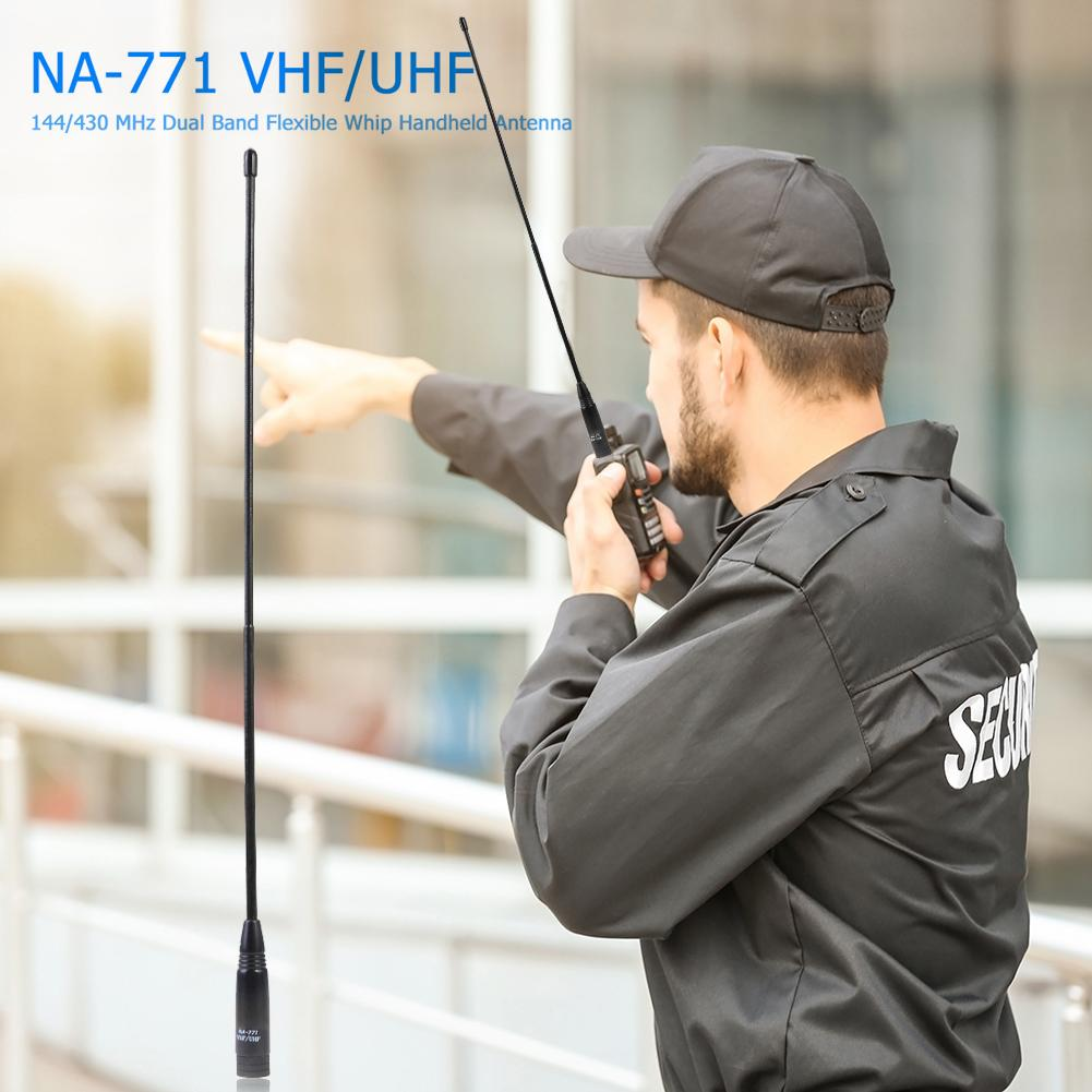1pc NA-771 Dual Band SMA-M Male Handheld Antenna Black Simple and Durable 2.15dBi 10W for Yaesu BAOFENG Walkie Talkie 38cm