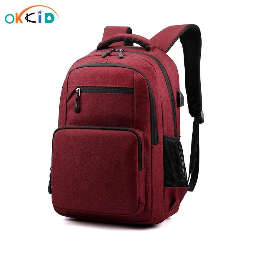 OKKID school bags for women teenage girls red school backpack usb charge book bag boy waterproof travel backpack laptop bag 15.6
