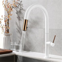 Faucet Kitchen Tap Pull Spray White Black Brass Cold Hot Mixer Tap 360 Degrees Rotate Kitchen Accessories