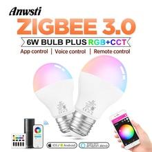 Zigbee Smart LED Lamp RGBCCT 6W AC110V 220V 6 Zone Remote Control E26 E27 Bulb Light Compatible with Amazon Alexa Hub