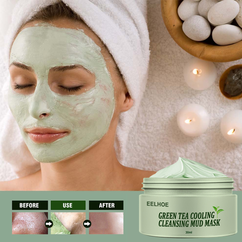 Green Tea Oil Control Acne Cleansing Mask Skin Care Moisturizing Remove Blackhead Fine Pores Deep Cleansing Mask Face Care TSLM2