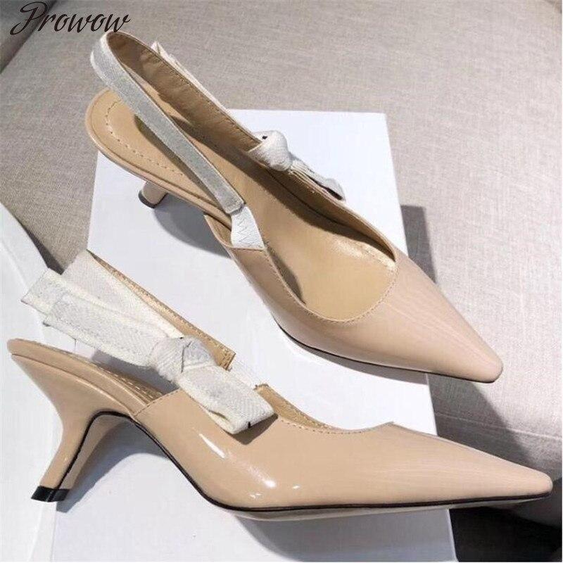 Prowow Summer Slingback High Heel Low Kitten Heel Luxury Famous Brand High Quality Designer Elegant Pumps Shoes Women|Women's Pumps| - AliExpress