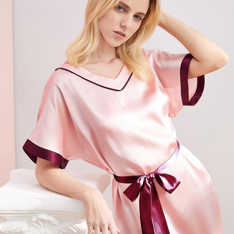 Maison Gabrielle 2021 Summer New 100% Mulberry Silk Chemise Nightgown Sleepdress Loungewear Sleepwear for Woman 19 Momme V Neck