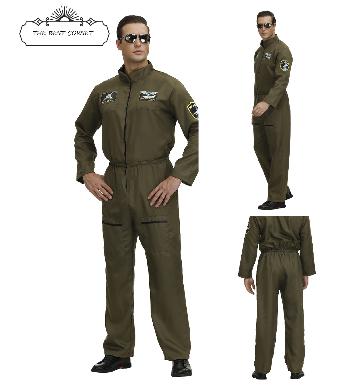 Flight Suit Uniform Fighter Pilot Costume Top Gun Cosplay JumpsuitZipper Clothing Halloween Party Role Playsuit Coveralls Adult