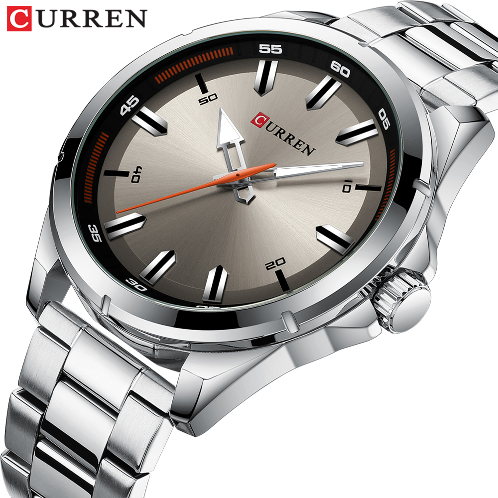 Luxury Brand CURREN Gray Watches Mens Quartz Business Wristwatch Fashion Clock Classic Steel Band Watch Reloj Hombres