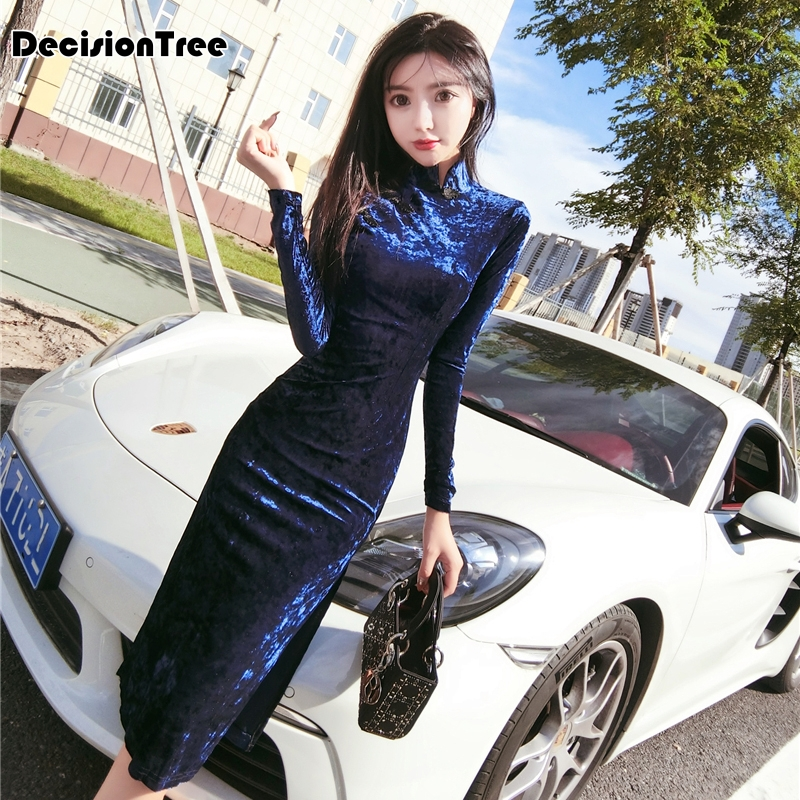 2020 Chinese Dress Vintage Mandarin Collar Women Long Qipao Classic Cheongsam Long Sleeve High Split Sexy Qipao For Female