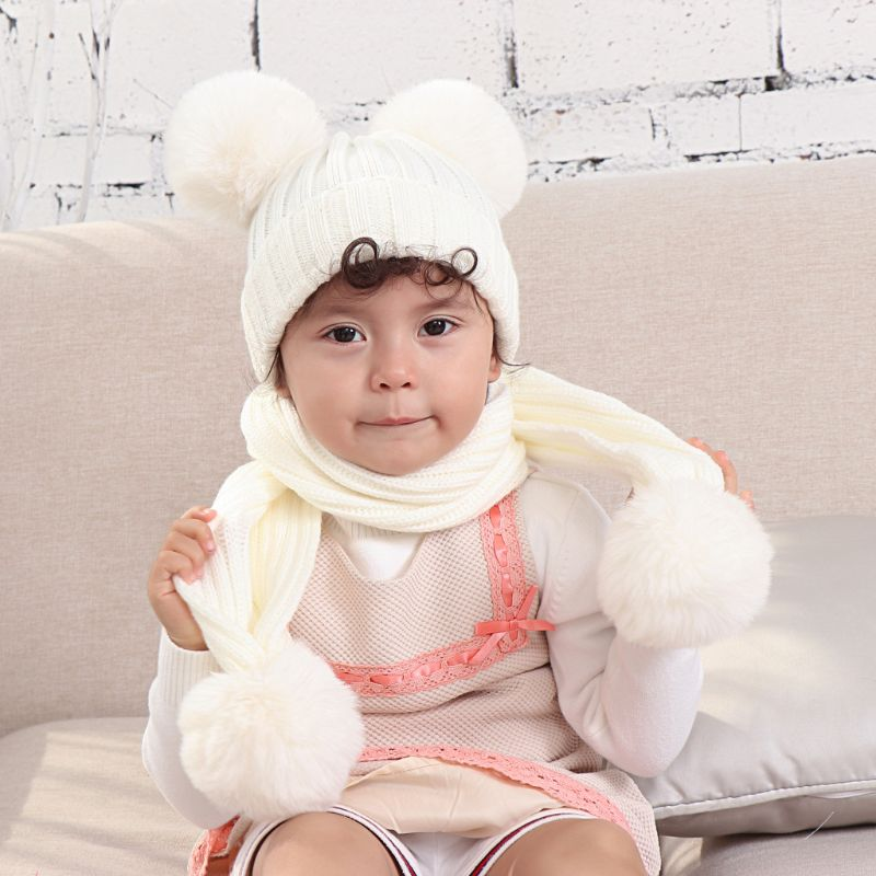 Infant Baby Winter Warm Double Plush Pompom Crochet Skull Cap Hat Long Scarf Set