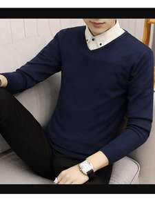 Pullovers Tops Wool-Sweater V-Neck Knitted Cashmere Warm Autumn Men Casual Winter Full-Sleeve