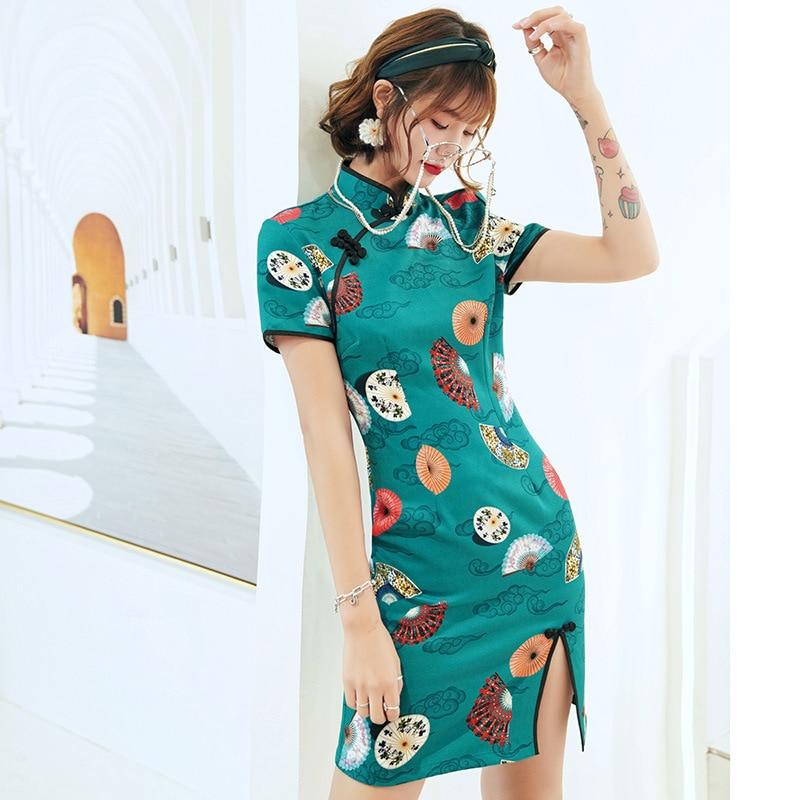 Vintage Cotton Ladies Evening Dress Chinese Mandarin Collar Cheongsam Elegant Improved  Qipao Vestidos Size S-3XL