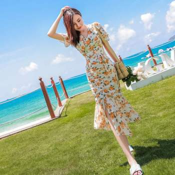 Women's suits 2020 summer celebrity bag hip floral fishtail skirt fashion two-piece suit Office Lady  Short  Polyester fishtail design bag accessory