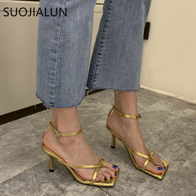SUOJIALUN 2020 Ankle Strap Women Sandals Fashion Brand Thin High Heel Gladiator Sandal Shoes Narrow Band  Party Dress Pump Shoes