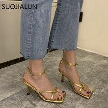 SUOJIALUN 2020 Ankle Strap Women Sandals Fashion Brand Thin High Heel Gladiator
