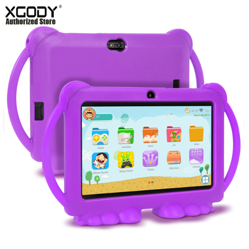 XGODY Children Learning Education Tablet Gift Kids Tablet 7inch HD With Silicone Case USB Charge Quad Core 1GB 16GB