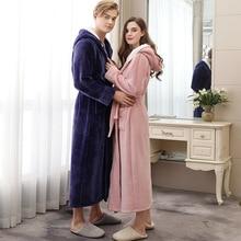 Paar Pyjamas 2019 Winter Mit Kapuze Bademantel Lange Dicke Flanell Paar Bademantel Lose Plus Größe Pyjama Hause Kleidung Nachtwäsche