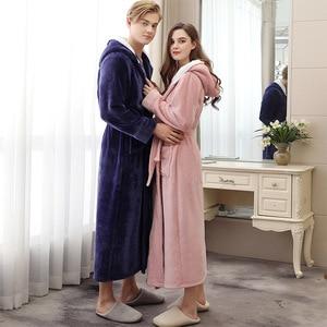 Image 1 - Paar Pyjamas 2019 Winter Mit Kapuze Bademantel Lange Dicke Flanell Paar Bademantel Lose Plus Größe Pyjama Hause Kleidung Nachtwäsche