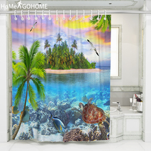 Seascape Shower Curtain 3D Coconut Tree Turtle Waterproof Polyester Fabric Bathroom Shower Curtain Cheap Bath Curtain with Hooks