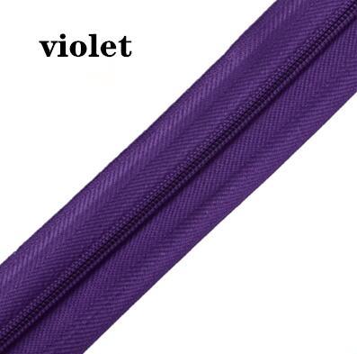 5 м длинная молния нейлон 3# пододеяльник подушка одеяло невидимая молния двойная молния черный и белый - Цвет: VIOLET